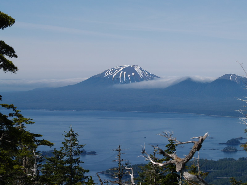 Mt. Edgecumbe from Harbor Mountain Road - we couldn't make it up to the Gavan Hill trail because of sloppy road conditions. There's only so much you can do with a mini-van. (July 2009).