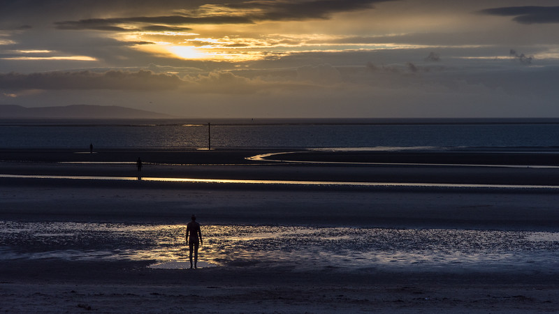 Sunset at Another Place on Crosby Sands