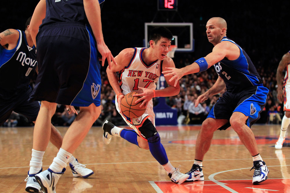 Description of . Jeremy Lin #17 of the New York Knicks drives against Jason Kidd #2 of the Dallas Mavericks at Madison Square Garden on February 19, 2012 in New York City. Jeremy Lin ranked as Google's seventh most searched trending person of 2012. (Photo by Chris Trotman/Getty Images)