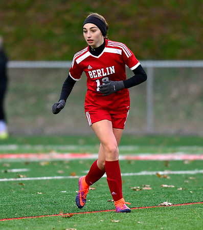 11/12/2019 MIke Orazzi | StaffrBerlin High School's Clare McGeever (12) Tuesday afternoon at Sage Park during the Class L First Round Girls Soccer Tournament with Joel Barlow in Berlin.