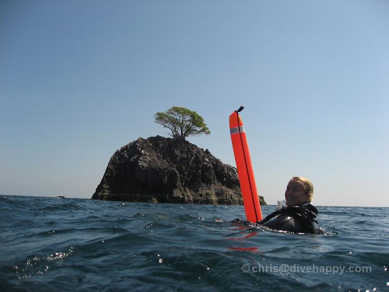 Happy diver at High Rock, Burma