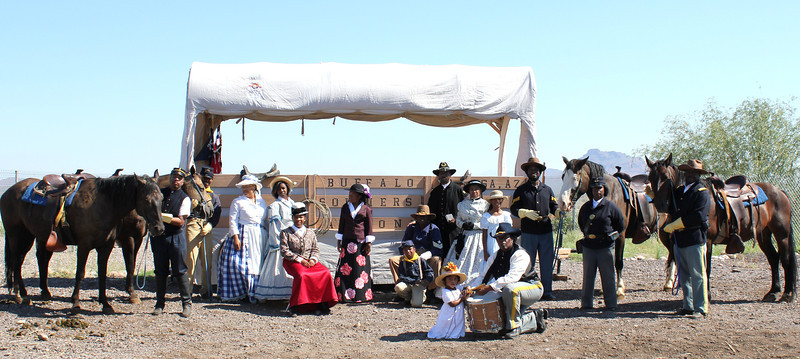 """The Official Arizona Centennial Legacy                                    """"Buffalo Soldiers of the Arizona Territory                                                                   and                                        Ladies and Gentlemen of the Regiment""""                                                Headquarters Mesa, Arizona.                                   Founders Cmdr Fred Marable and Michelle London-Marable"""