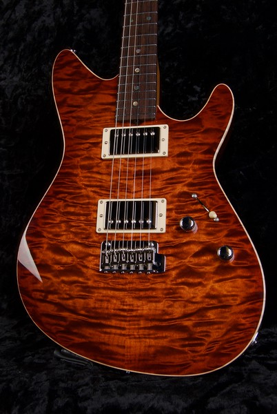 TurboJet #3588, Mahogany Quilt Maple Top Copper Burst, Grosh H/H pickups