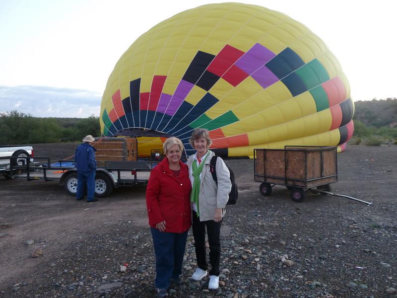 Melanie & Sandra await our balloon ride