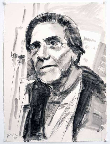 Portrait study - John C Moore, charcoal, 22 x 30 in, 2005