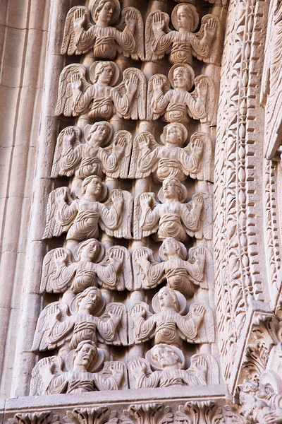 Angle Statues on the portal of St. Triomphe Church in Arles, France