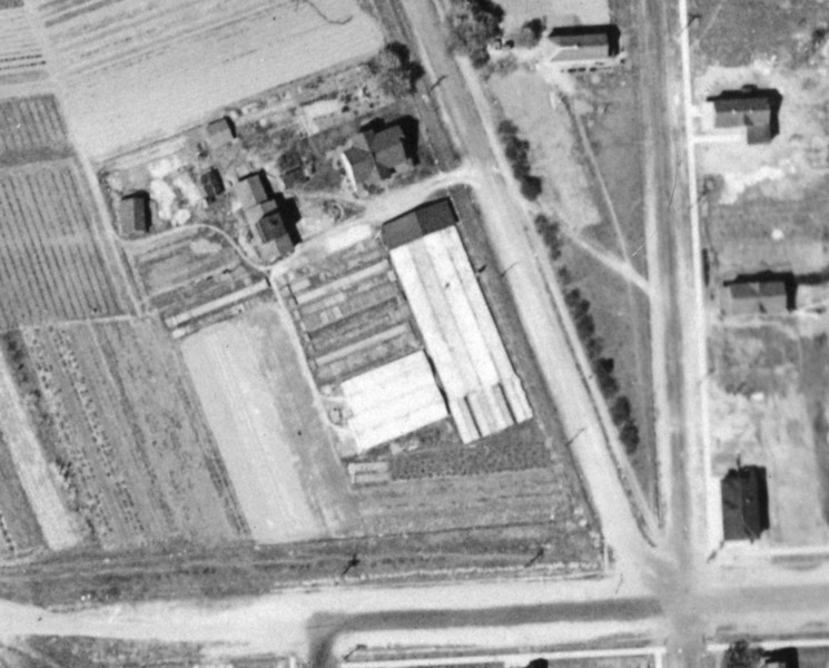 1923 Aerial of Charles Frost farm and greenhouses on Cross st. and Washington. The house on Cross st. still stands today.