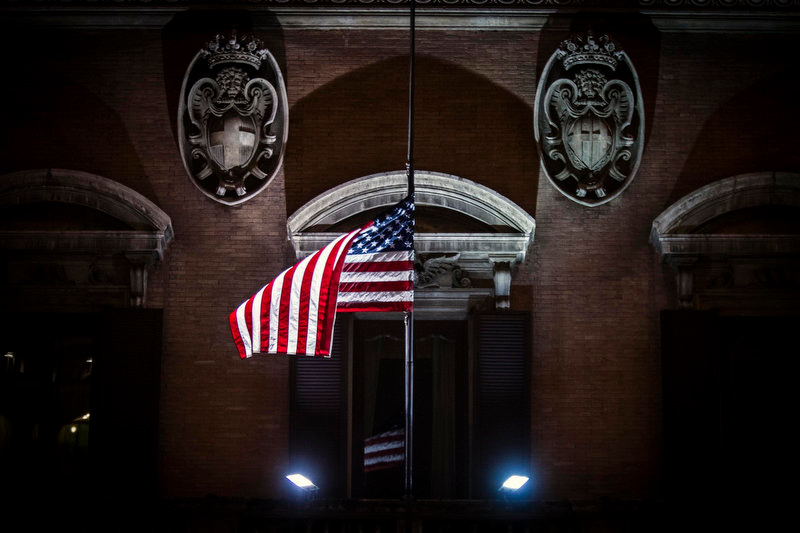 ". The American flag flies at half staff to mourn the victims of the Connecticut school shooting, at the US Embassy in Rome, Saturday, Dec. 15, 2012. Police said Saturday they had found ""very good evidence\"" they hoped would answer questions about the motives of the 20-year-old gunman, described as brilliant but remote, who forced his way into a U.S. school and killed 26 children and adults in one of the world\'s worst mass shootings. (AP Photo / Angelo Carconi)"