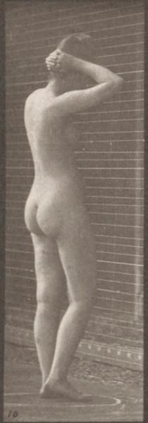 Nude woman striking various poses