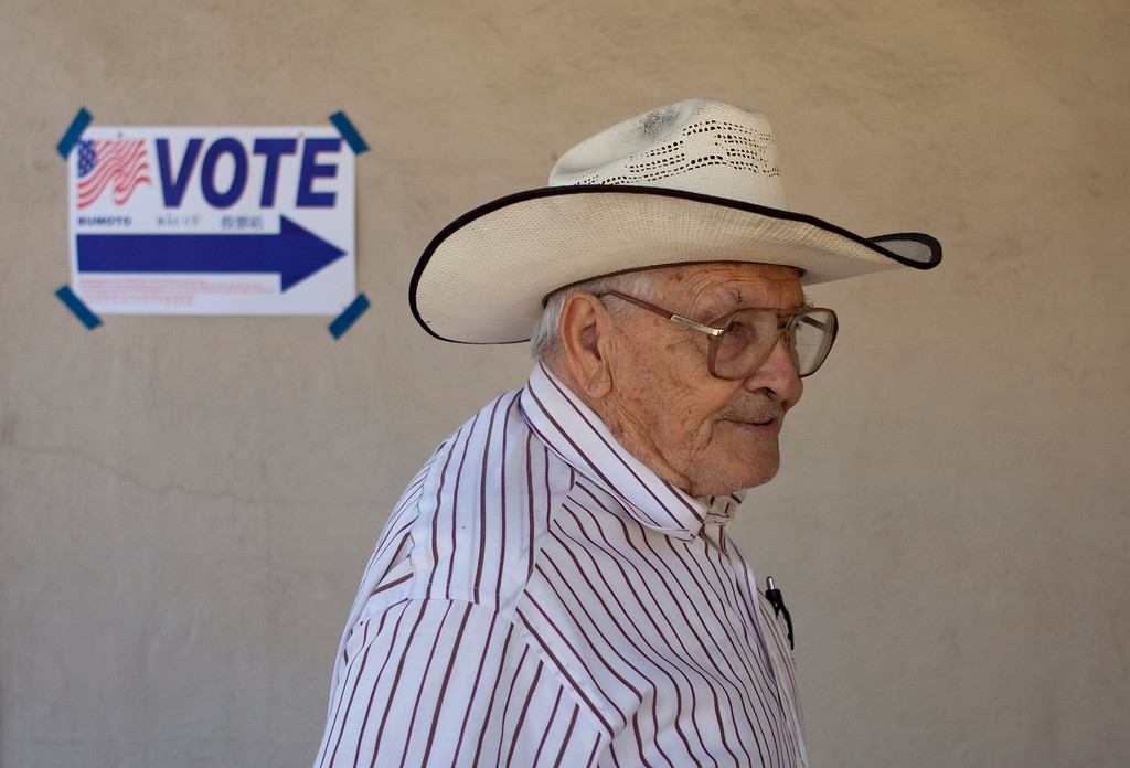 . Manuel Flores, 83, walks to the polling place at the Alum Rock Christian Church in San Jose as voters cast their ballots Tuesday, July 30, 2013 in the Santa Clara County District 2 supervisor race between labor leader Cindy Chavez and rival Teresa Alvarado.  (Patrick Tehan/Bay Area News Group)
