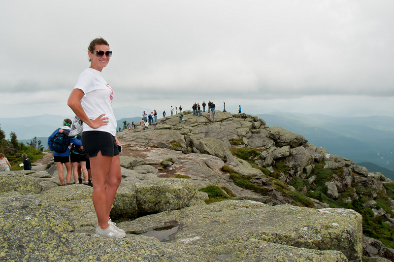 IronmanLP-8 - The day before the race, we drove the bike course. We took a side trip up the Veteran's Memorial road to the top of Whiteface Mountain where Jessica popped a pose.