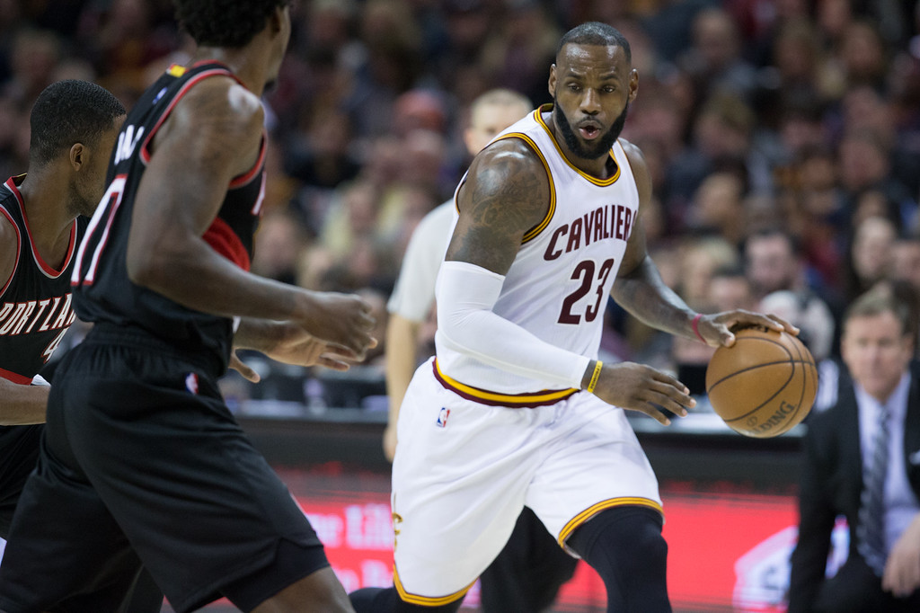 . Michael Johnson - The News-Herald Lebron James of the Cleveland Cavaliers (23) drives to the basket  during a home game against the Portland Trailblazers on November 23, 2016 at the Quicken Loans Arena. The Cavs defeated the Trailblazers 137-125