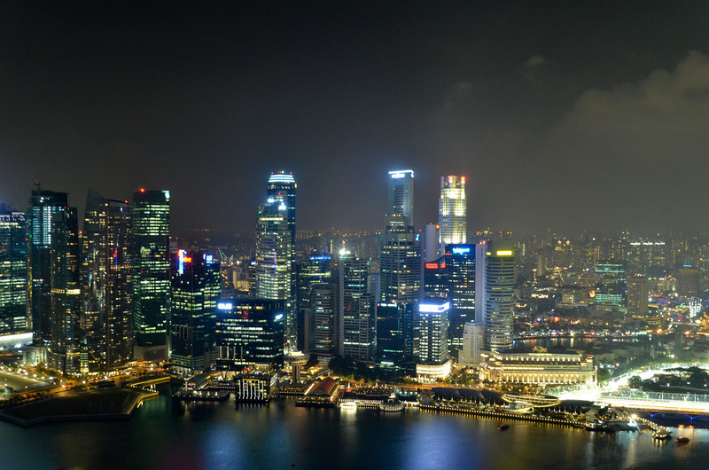 Financial district, Singapore with F1 night race track at the corner