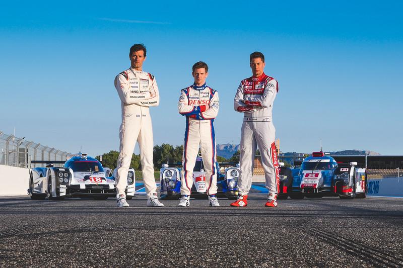 Mark Webber (AUS) Porsche - Anthony Davidson (GBR) Toyota - Loic Duval (FRA) Audi<br /> <br /> WEC Pit Lane - Paul Ricard, France<br /> Fuji X-T1 / Fuji XF 50-140 f2.8 Lens