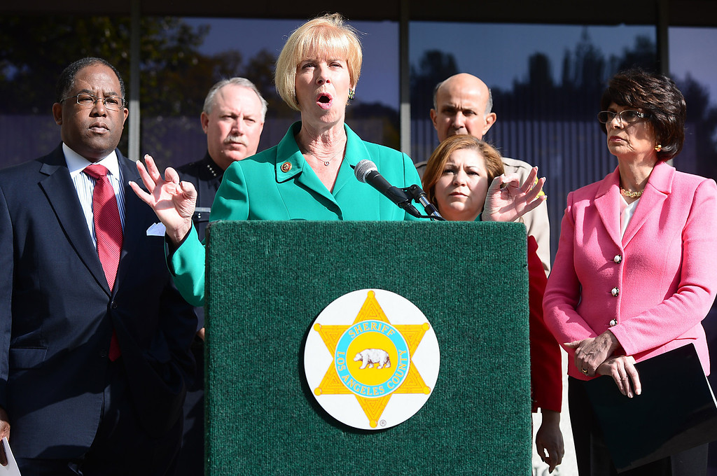 . Congresswoman Janice Hahn speaks to the press in support of Congresswoman Linda Sanchez\' legislation to assist law enforcement with gun buyback programs Thursday, February 21, 2013 at Los Angeles County Sheriff\'s Headquarters. (SGVN/Staff Photo by Sarah Reingewirtz)