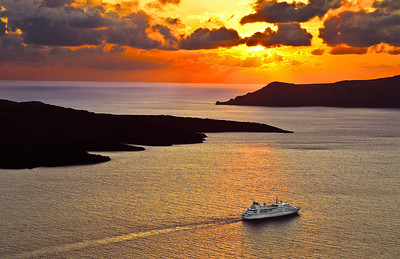 Ship Heading Out to Sea from Santorini, Greece