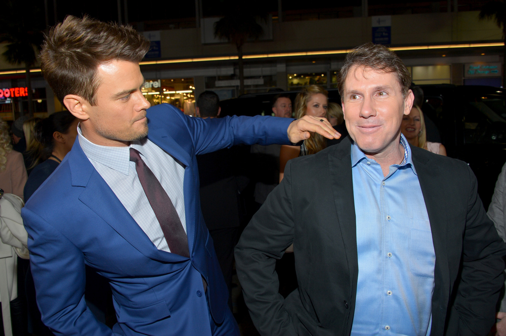 Description of . Actor Josh Duhamel (L) and author/producer Nicholas Sparks arrive at the premiere of Relativity Media's