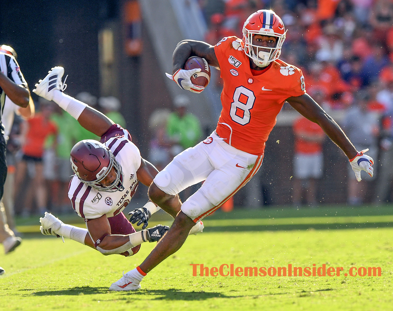 Clemson wide receiver Justyn Ross (8) carries against Texas A&M during the 3rd quarter Saturday, September 7, 2019 at Clemson's Memorial Stadium. Bart Boatwright/The Clemson Insider