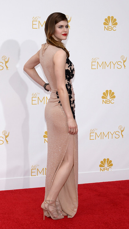 . Alexandra Daddario on the red carpet at the 66th Primetime Emmy Awards show at the Nokia Theatre in Los Angeles, California on Monday August 25, 2014. (Photo by John McCoy / Los Angeles Daily News)