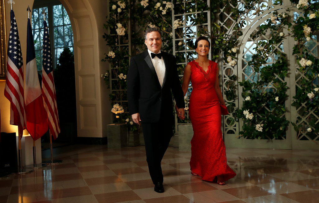 . Dina Powell and David McCormick arrive for a State Dinner with French President Emmanuel Macron and President Donald Trump at the White House, Tuesday, April 24, 2018, in Washington. (AP Photo/Alex Brandon)