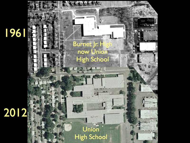 Site of Union High School on North 3rd St. The building was originally Burnet Junior High school and in 1969 was expanded and traded locations with Union High School to become the much larger High school.