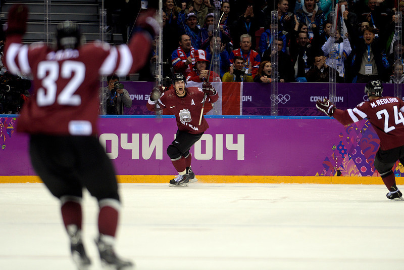 . Lauris Darzins (10) of the Latvia celebrates his 1-1 game-tying goal against Canada during the first period of men\'s hockey action. Sochi 2014 Winter Olympics on Wednesday, February 19, 2014 at Bolshoy Ice Arena. (Photo by AAron Ontiveroz/ The Denver Post)