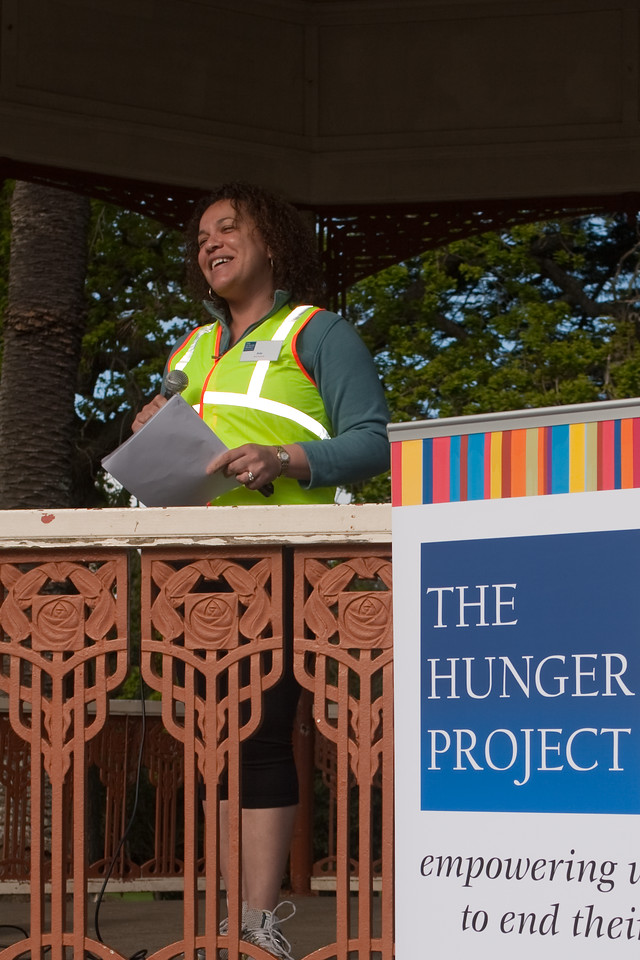 THP Hike_019-1  The Hunger Project Hike4Hunger<br /> Ada Echetebu welcoming everyone to the Walk4Hunger and explaining the background and her involvement. She grew up in Africa and saw children die of starvation and malnutrition.