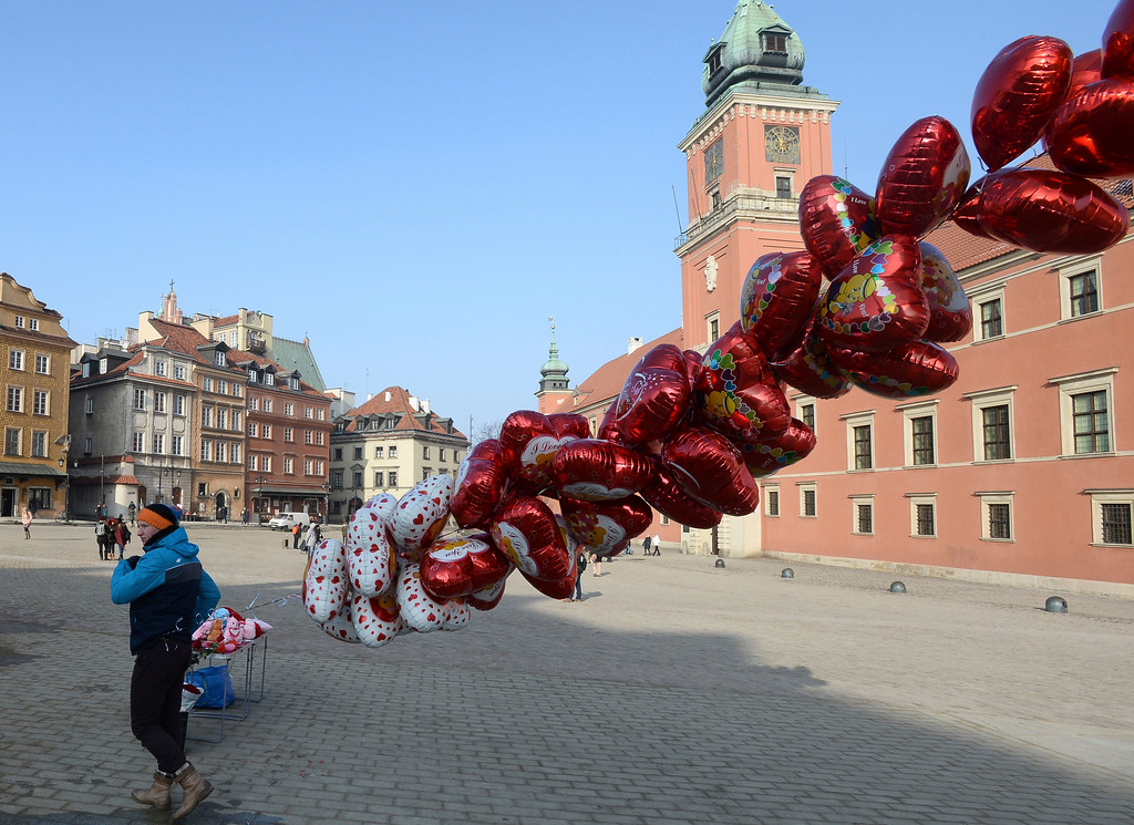. A street vendor offers heart shaped balloons on Valetnine\'s Day in Warsaw, Poland, Tuesday, Feb. 14, 2017. (AP Photo/Alik Keplicz)
