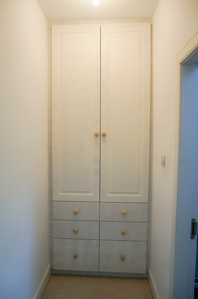 Wardrobe formed in MDF with Birch ply drawers on full extention runners, all ready for painting by customer