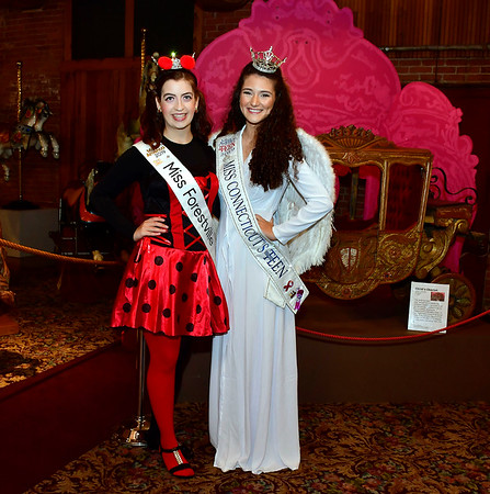 10/31/2019 Mike Orazzi | StaffrMiss Forestville Jaymie Bianca and Miss Connecticut's Outstanding Teen Linda Frangu during Halloween activities at the New England Carousel Museum on Thursday.