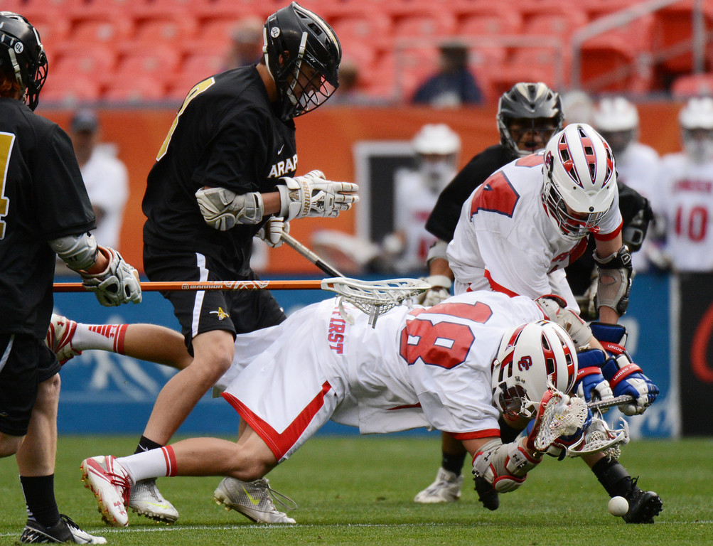. DENVER, CO. - MAY 18 : Ben Eigner of Arapahoe High School (8) checks Zach Cohen of Cherry Creek High School (18) during 5A Boy\'s Lacrosse Championship game at Sports Authority Field at Mile High Stadium. Denver, Colorado. May 18, 2013. Arapahoe won 10-7. (Photo By Hyoung Chang/The Denver Post)