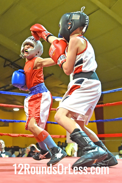 Bout 3 Daben Figueroa(Blue Gloves), Akron Boxing Academy -vs- Roberto Cruz(Red Gloves), Old Angle/ Make Them Pay BC, 60 lbs, Pee Wee