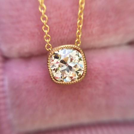.72ct Old European Cut Diamond Yellow Gold Bezel Pendant