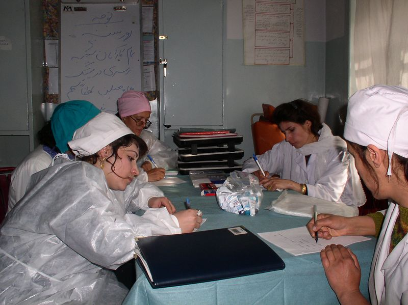 """The nurses and doctors writing their """"wish list """" for the nursery. This is the next step in strategic planning !"""