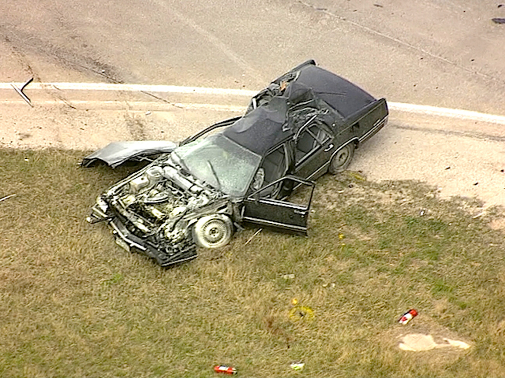 . A high speed chase and crash in Texas resulted in a shootout between a suspect and police officers. Photo provided by KTVT CBS-DFW