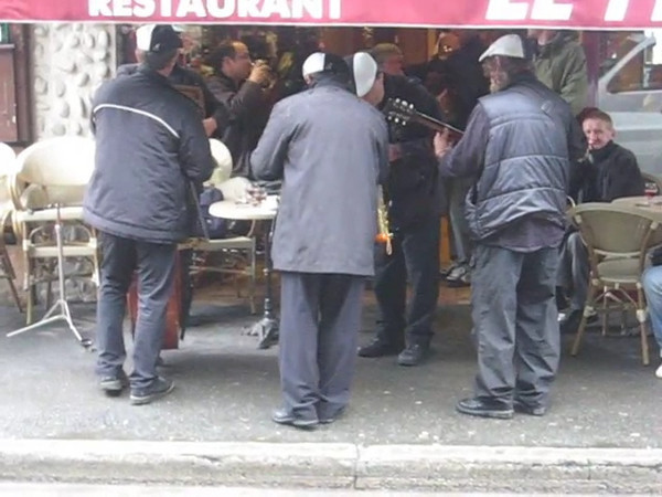 This band moved from restaurant to restaurant entertaining diners on a cold rainy day.