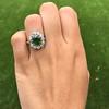 4.38ctw Art Deco Russian Demantoid & Diamond Cluster Ring 18
