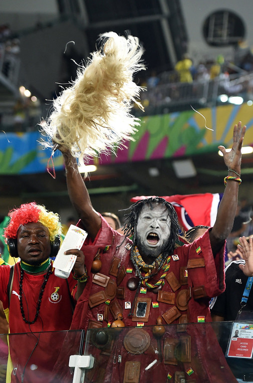 . Ghana\'s fans cheer before the start of a Group G football match between Ghana and US at the Dunas Arena in Natal during the 2014 FIFA World Cup on June 16, 2014.  CARL DE SOUZA/AFP/Getty Images