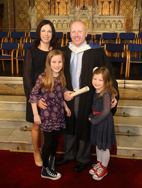 Waterford Institute of Technology Conferring. Pictured is Ray Kelly, Tramore who graduated Bachelor of Science in Good Manufacturing Practice and Technology with his family, wife Rose, children, Abby and Rachel. Picture: Patrick Browne.