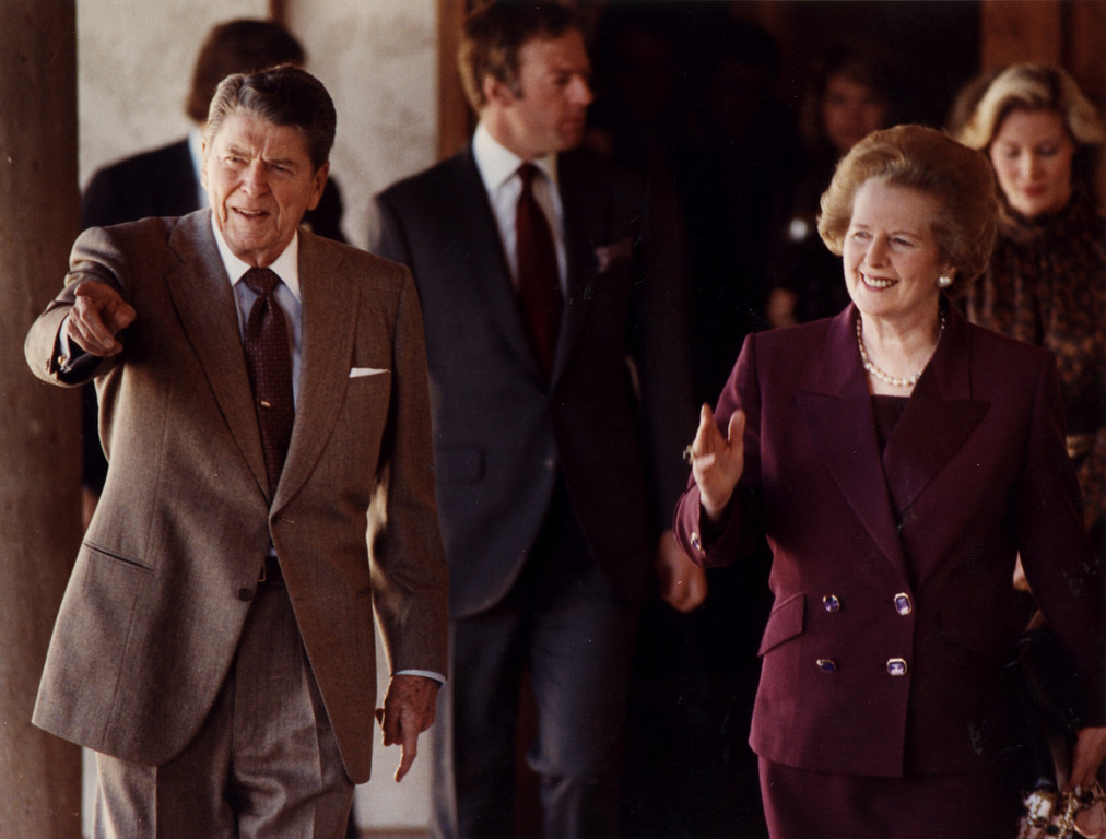 . 2/04/91-Simi Valley--Former President Ronald Reagan leads a former British Prime Minister Margaret Thatcher on a tour of the Ronald Reagan Presidential Library near Simi Valley.  (Los Angeles Daily News file photo)