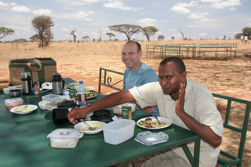 Lunch on safari with our guide Leonce
