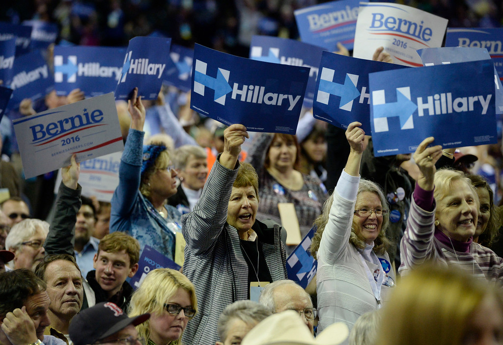 . Hillary Clinton supporters get fired up at the Colorado Democratic State Convention at the Budweiser Events Center April 17, 2016. (Photo by Andy Cross/The Denver Post)