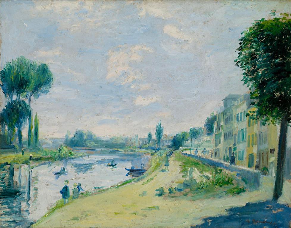 """. Pierre Auguste Renoir, \""""Bords De Seine,\"""" 1875, oil on canvas, 17x21.5\""""  (Image provided by the Denver Art Museum)"""