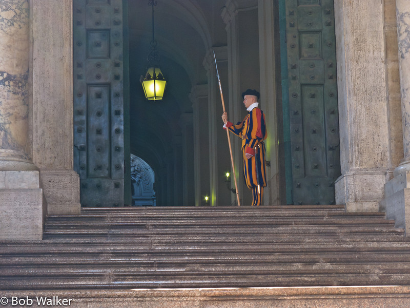 Steps leading to door of St. Peter's Basilica, with Swiss guard