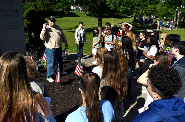 5/24/2018 Mike Orazzi | Staff Tim Gamache talks about the Vietnam War while at the during the monument tour for Bristol high school students Thursday morning on Memorial Blvd.