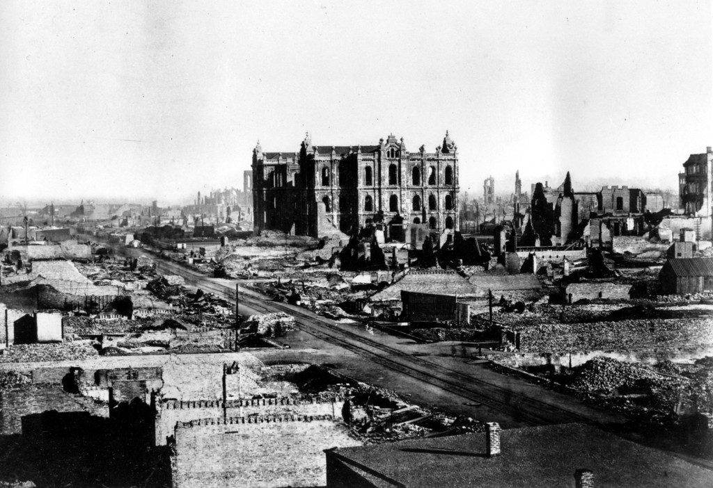 . This general view shows the Chicago Court house and downtown area in the aftermath of the fire in Chicago, Ill., 1871.  (AP Photo)