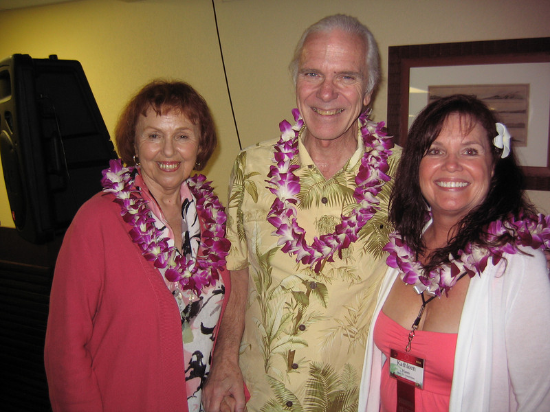 Norma Delaney, Garret Annofsky and Kathleen Haws at the Welcome Dinner.