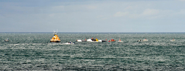 Spindrift being righted - Carlisle Pier Dún Laoghaire - 22 June 2013