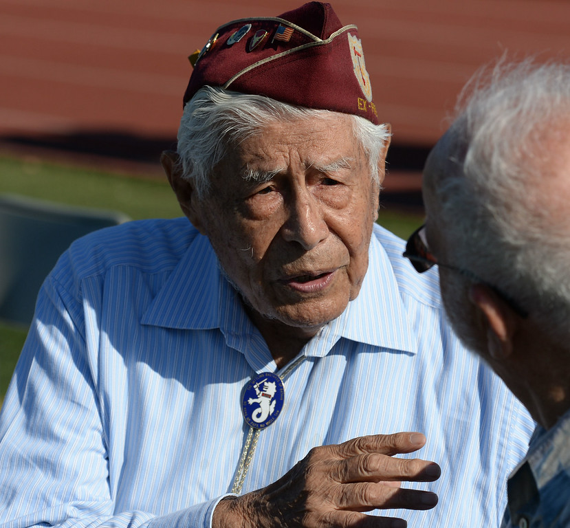 . Bill Sanchez, center, 96, was a POW in a Japanese prison camp with Louis Zamperini. Memorial for Torrance legend Louis Zamperini who died earlier this month Thursday, July 31, 2014, Torrance, CA.  Zamperini was an Olympian, WWII bomber pilot and Japanese POW. A book by Laura Hildebrand titled Unbroken documented his life and a movie directed by Angelina Jolie will be released in December.   Photo by Steve McCrank/Daily Breeze