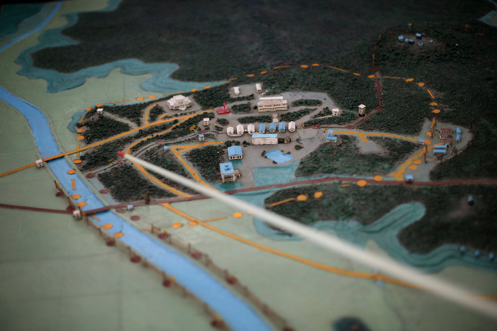 . A model of the Demilitarized Zone that separates the two halves of the Korean peninsula is displayed near Kaesong, North Korea on Thursday, Sept. 18, 2008.  (AP Photo/David Guttenfelder)
